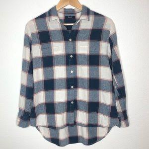 Madewell Plaid Blue Red button down shirt